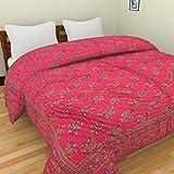 Mahadev Handicrafts pure cotton jaipuri razai / rajai traditional sanganeri elephant print double bed quilt blanket - 90 Inch x 103 Inch, Multi-Color,Approx