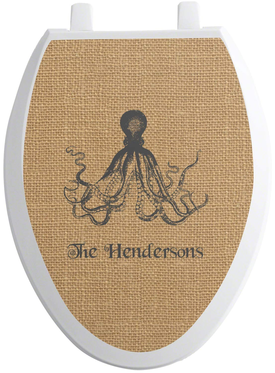 RNK Shops Octopus & Burlap Print Toilet Seat Decal - Elongated (Personalized) by RNK Shops