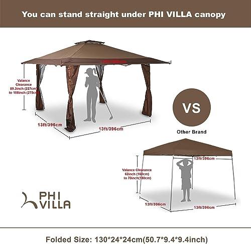 PHI VILLA 13'x13' UV Block Sun Shade Gazebo Canopy