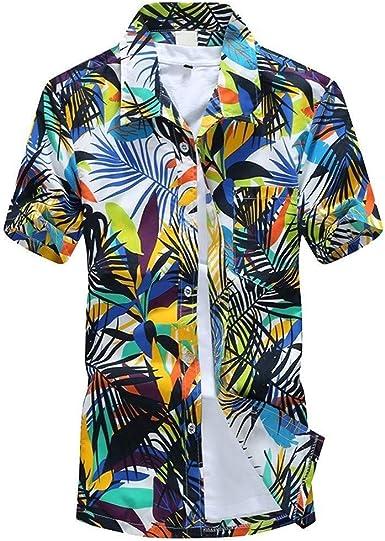 Camisa Hawaiana Funky Bolsillo Delantero De Manga Corta para Hombre Ropa de Fiesta con Estampado De Hawaii Playa Palmeras Mar Playa tee Tops De Mierda: Amazon.es: Ropa y accesorios