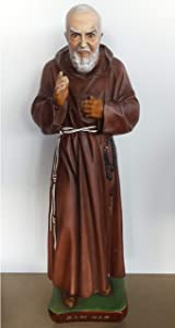 "Ferrari & Arrighetti Padre Pio Garden Statue Made of Unbreakable Material, Rain-Resistant, Hand-Painted (23.6"" / 60 cm Tall)"