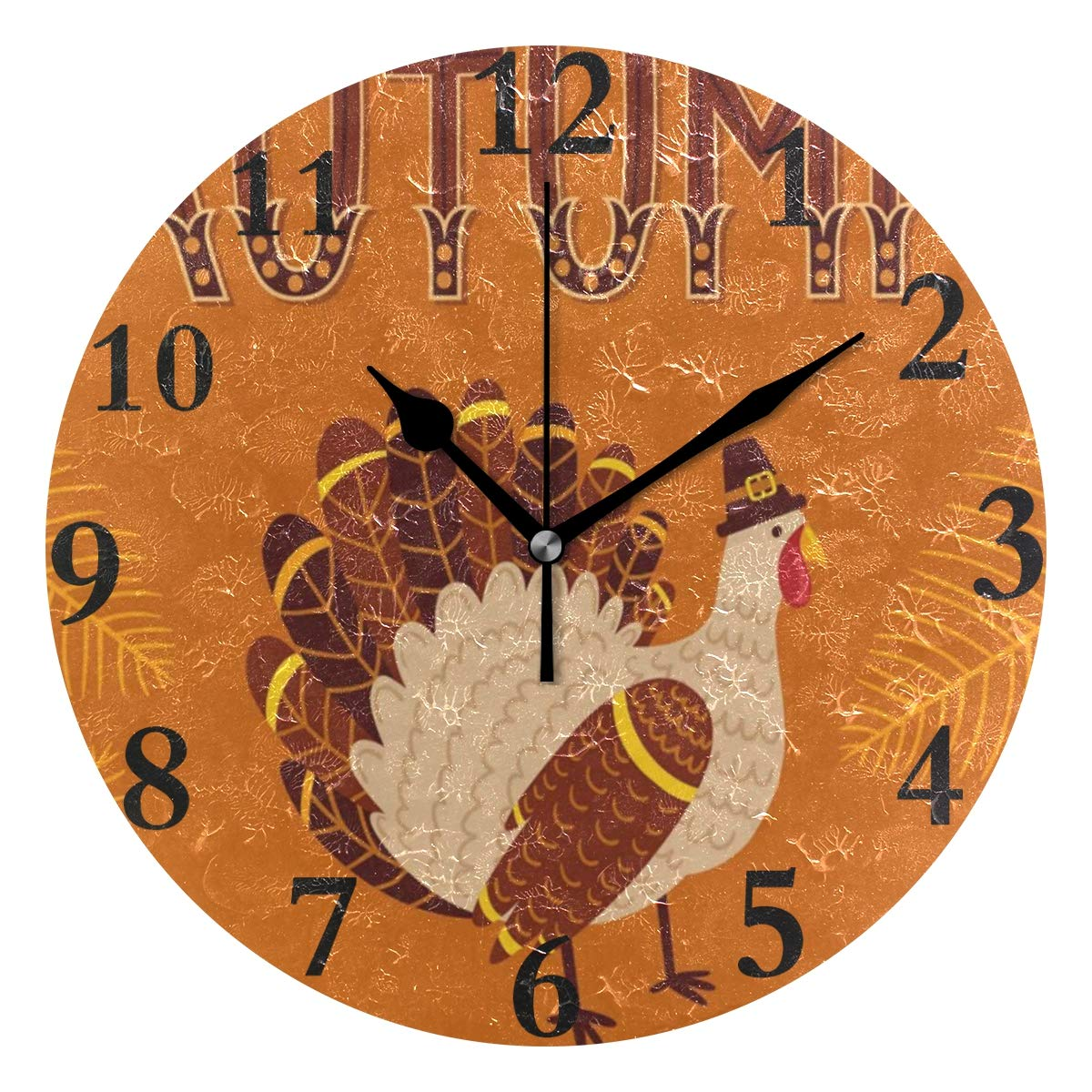 Ladninag Wall Clock Vintage Autumn Turkey Silent Non Ticking Decorative Round Digital Clocks Indoor Outdoor Kitchen Bedroom Living Room