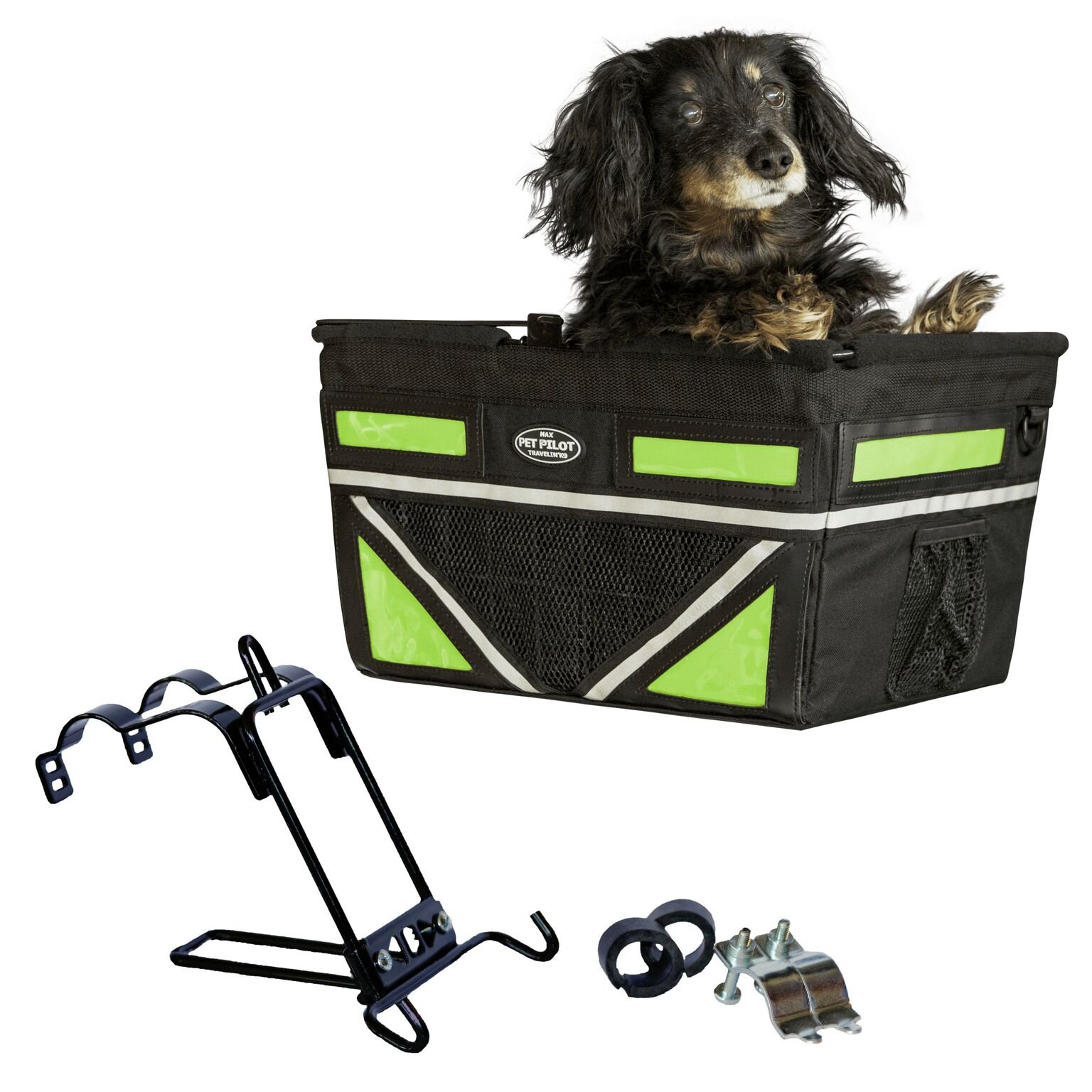 Travelin K9 Pet-Pilot MAX Dog Bicycle Basket Carrier | 2019 Model with 9 Color Options for Your Bike (NEON Green) by Travelin K9