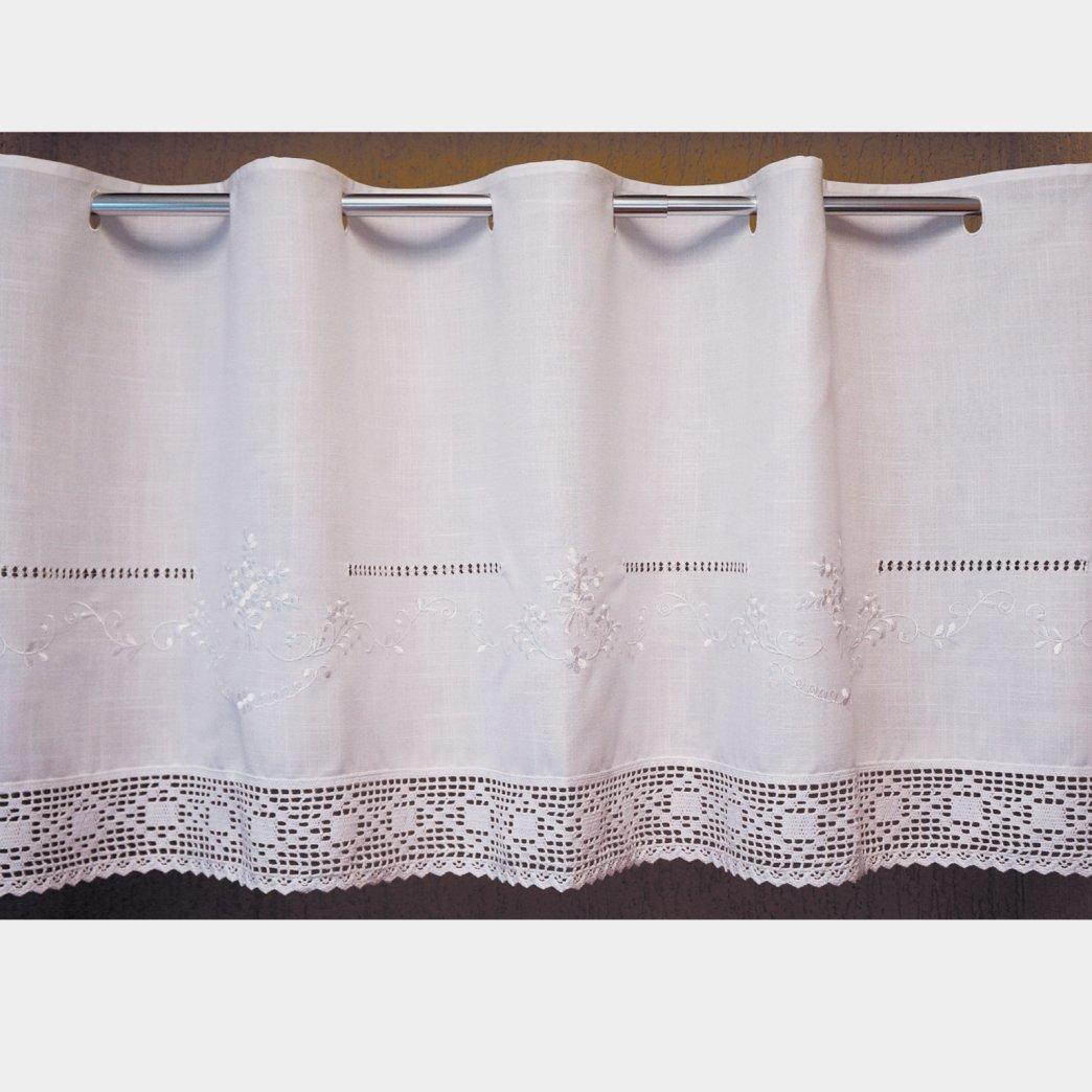 Scheibengardine 30x145 cm aus sch/öner Landhaus Serie Stickerei mit H/äkelspitze in wei/ß Bistrogardine geh/äkelt /& bestickt Country Chic Gardine Typ368