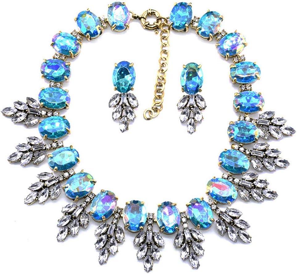 YFFSP Zafiro Mujer Pendientes Colgantes De Circonita Cúbica Collar Hoja De Corte Ovalado Señoras Diamantes De Imitación Elegantes Fiesta Mascarada Compromiso,E