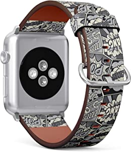 Compatible with Big Apple Watch 42mm & 44mm (All Series) Leather Watch Wrist Band Strap Bracelet with Stainless Steel Clasp and Adapters (Retro Pop Art Comic Shout)