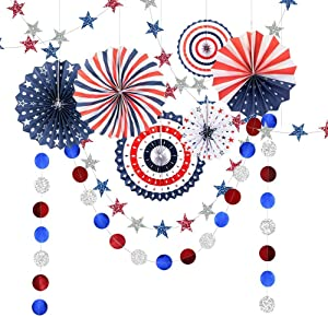 Red Blue White Fourth/4th of July USA Independence Day Party Decoration Hanging Paper Fan Kit Prom Circle Streamers Garlands Banner for National Day Patriotic Theme Decor for Home Birthday/Baby Shower