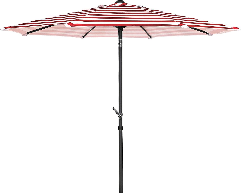 HERMO 98S Roun 9 Ft Outdoor Patio 8 Ribs Market Table Umbrella, red