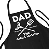 Funny Apron for Men - Dad The Man The Myth The Grill Master - Adjustable Large 1 Size Fits All - Poly/Cotton Apron with 2 Poc