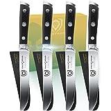 "DALSTRONG Steak Knives - Set of 4 - 5"" Serrated-Edge Blade - Gladiator Series - Forged German ThyssenKrupp HC Steel - Black G"
