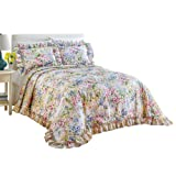 Floral Watercolor Gardenscape Lightweight Plisse Bedspread, Multi, Queen