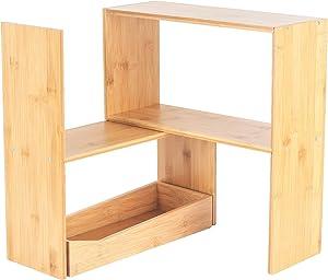 Eco Kitchenware Desktop Shelf Organizer Adjustable Desk Shelves for Desk Organization Bamboo Wood Desktop Bookshelf Ideal Dorm Desk Hutch and Counter Organizer Kitchen