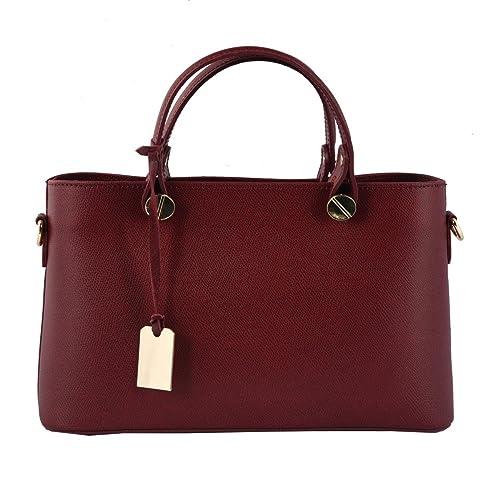 Bolso De Mano En Piel Verdadera Color Borgoña - Peleteria Echa En Italia - Bolso Mujer: Amazon.es: Zapatos y complementos