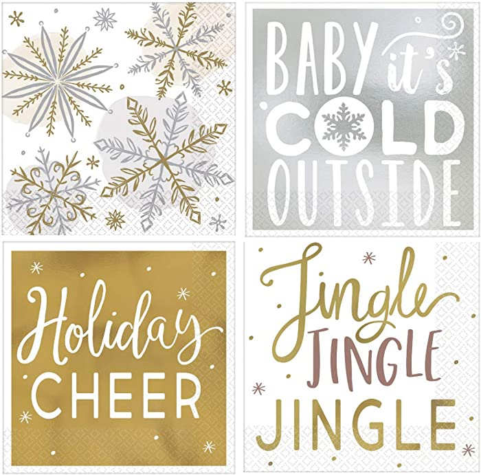 Winter Fun Holiday Cocktail Beverage Napkins Variety Pack | Bundle Includes 64 Total Paper Napkins in 4 Different Designs