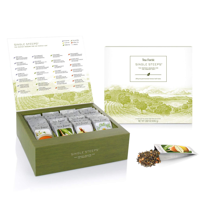 Tea Forte Single Steeps Loose Tea Sampler, Assorted Variety Tea Chest Gift Set, 28 Different Single Serve Pouches, Black Tea, Green Tea, White Tea, Herbal Tea