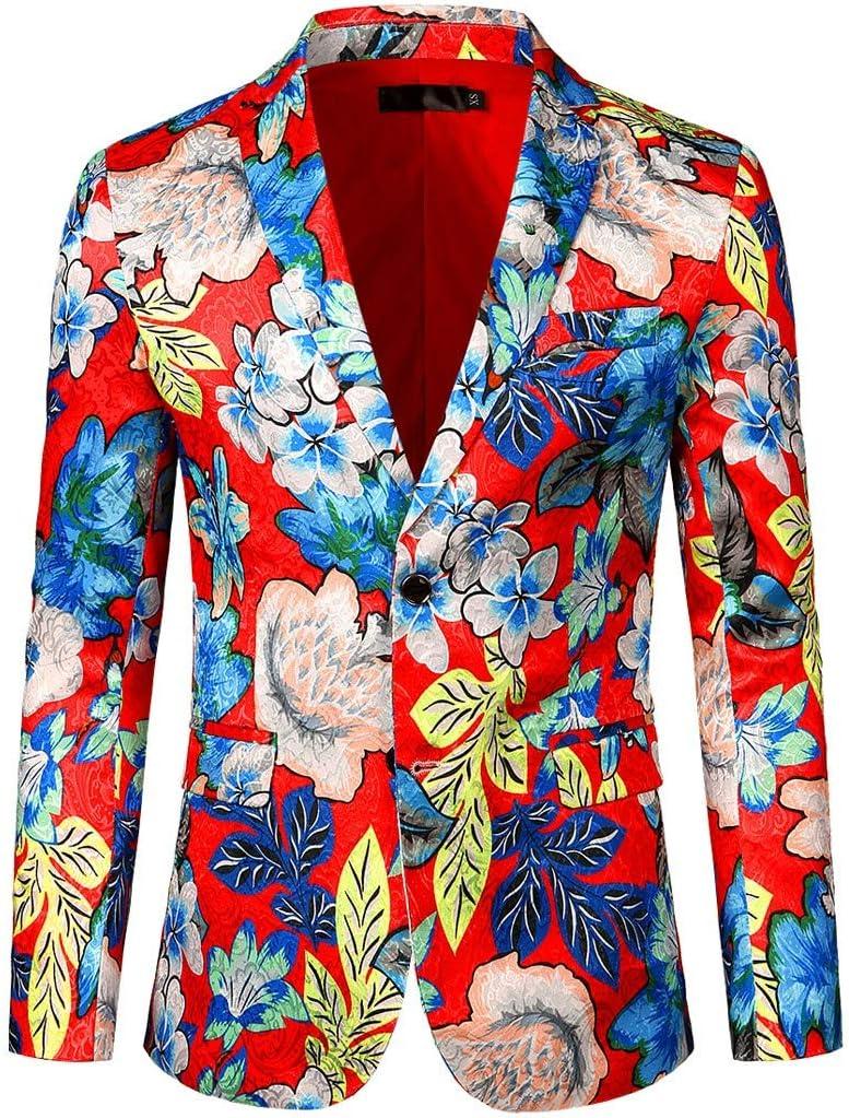 Jokim Men'S Luxury Casual Dress Floral Suit Notched Lapel Slim passen Stylish Blazer Jacket Party Coats