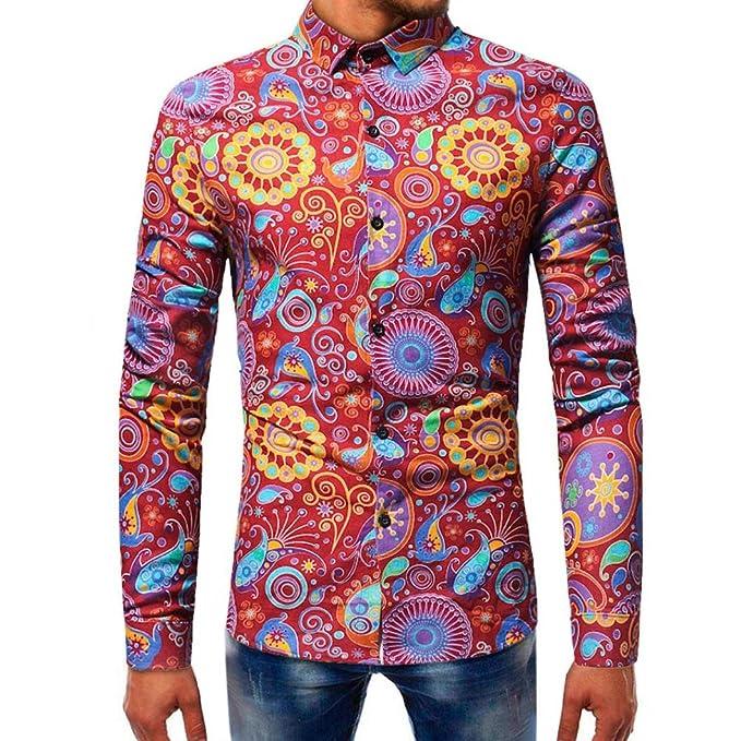 Resplend Blusa Estampada de Moda para Hombre Camisas de Manga Larga Casual Slim Tops