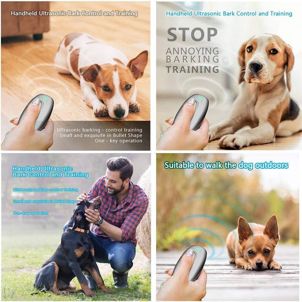Weyio Handheld Dog Trainer Anti Barking Device Handheld ultrasonic Dog bark Deterrent with Wrist Strap Portable Dog Trainer with LED Indicator Light (Gray) by Weyio (Image #5)