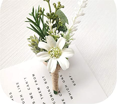 White and green silk wedding buttonhole  boutonniere.