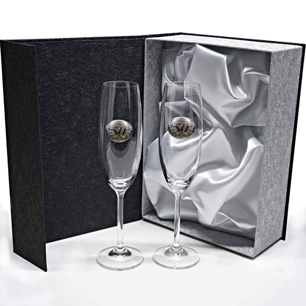 Set/Estuche de 2 Copas de champán para Novios, Bodas de Plata/Oro, Aniversarios, colección GASTRO-50 Aniversario, Aplique bilaminado. Por la galaica