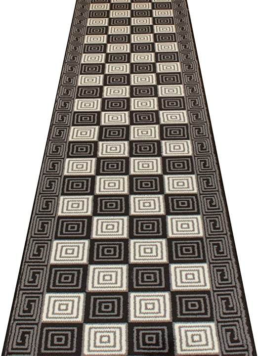 Alfombra Pasillo Escalera Entrada Larga Moderna Negra Cuadro 60 cm y 70 cm Ancho - L: 29ft (8.84m) x W: 60cm: Amazon.es: Hogar
