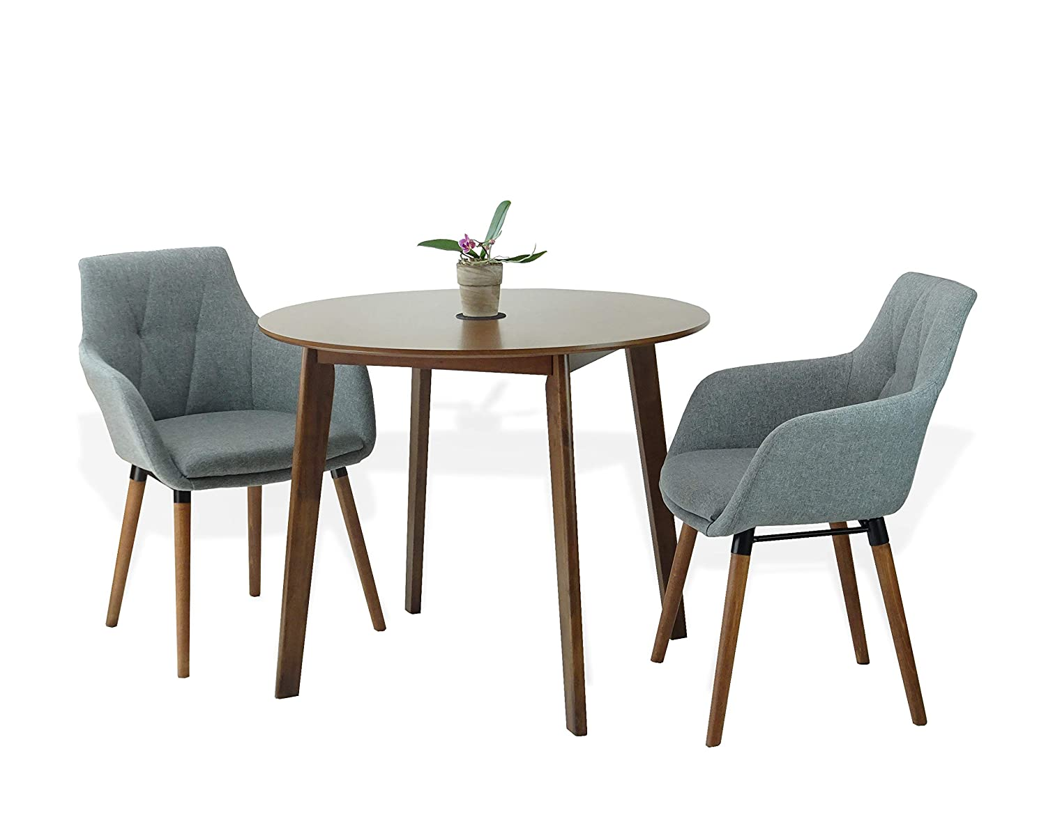 Amazon com sunbear furniture modern set of 3 dining round wooden medium brown table with 2 alba armchairs gray color table chair sets