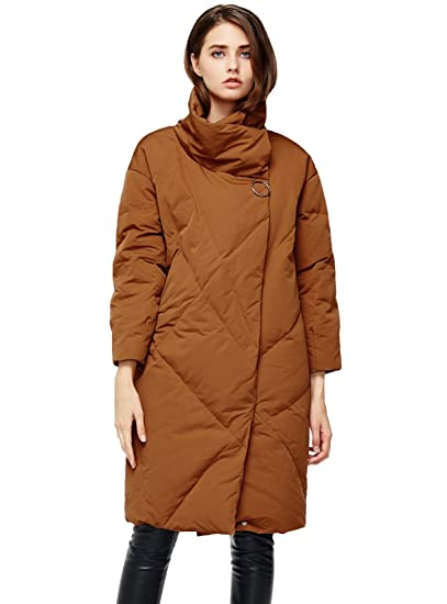b9f4be65b ANNA&CHRIS Womens Mid-Length Down Jacket Stand Collar Puffer Coats Outerwear