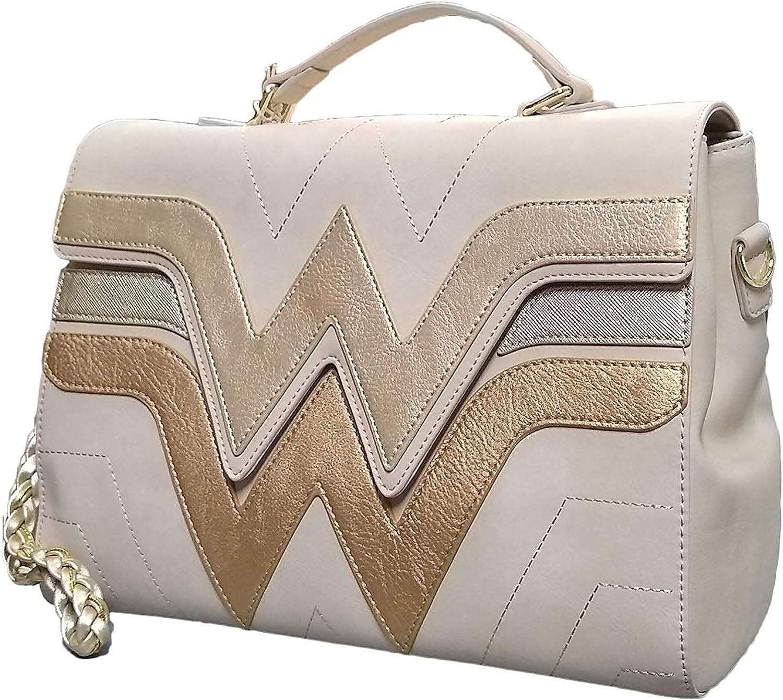 Loungefly X Wonder Woman Bolso cruzado con logo dorado Beige