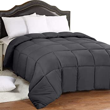 King, Gray Box Stitched Plush Siliconized Fiberfill Duvet Insert Ultra Soft Down Alternative Comforter Utopia Bedding All Season 250 GSM Comforter