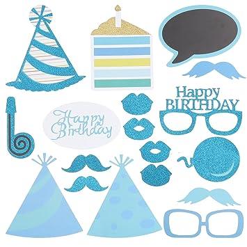 BESTOYARD 18 Piezas Cumpleaños Fotomatón apoyos Glitter ...