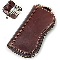 Leather Key Holder Wallet Key Case Holder Car Key Organizer Wallets with 6 Hooks