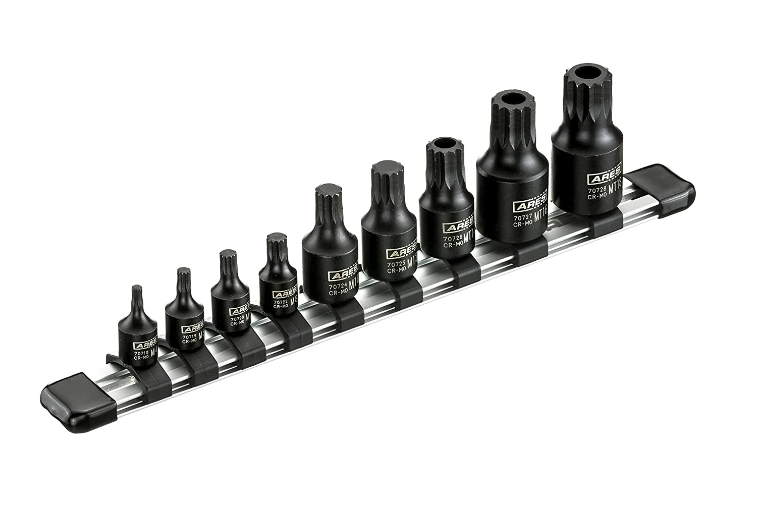 ARES 70610 | 10-Piece Low Profile Impact Stubby Star Bit Socket Set | Chrome-Moly Steel and Manganese Phosphate Coating Designed for Impact Use | Sizes Range from T10 to T50 on a Reusable Storage Rail