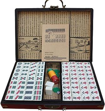 LEERAIN Mahjong/Majiang Club Set Lujo Chino Tradicional Mahjong ...