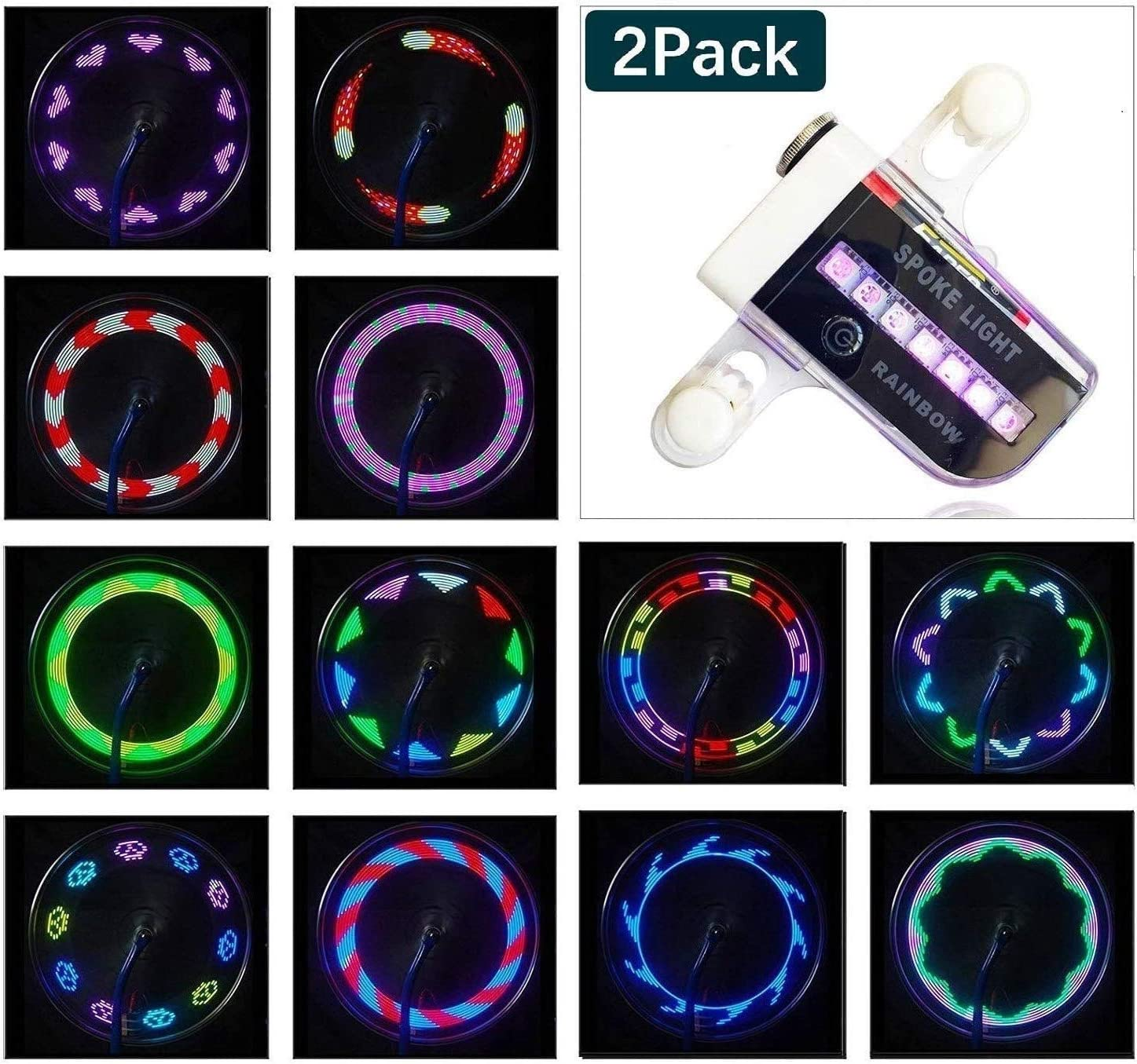 Bike Wheel Lights - Waterproof LED Bicycle Spoke Lights Safety Tire Lights - Great Gift for Kids Adults - 30 Different Patterns Change - Bike Accessories - Easy to Install