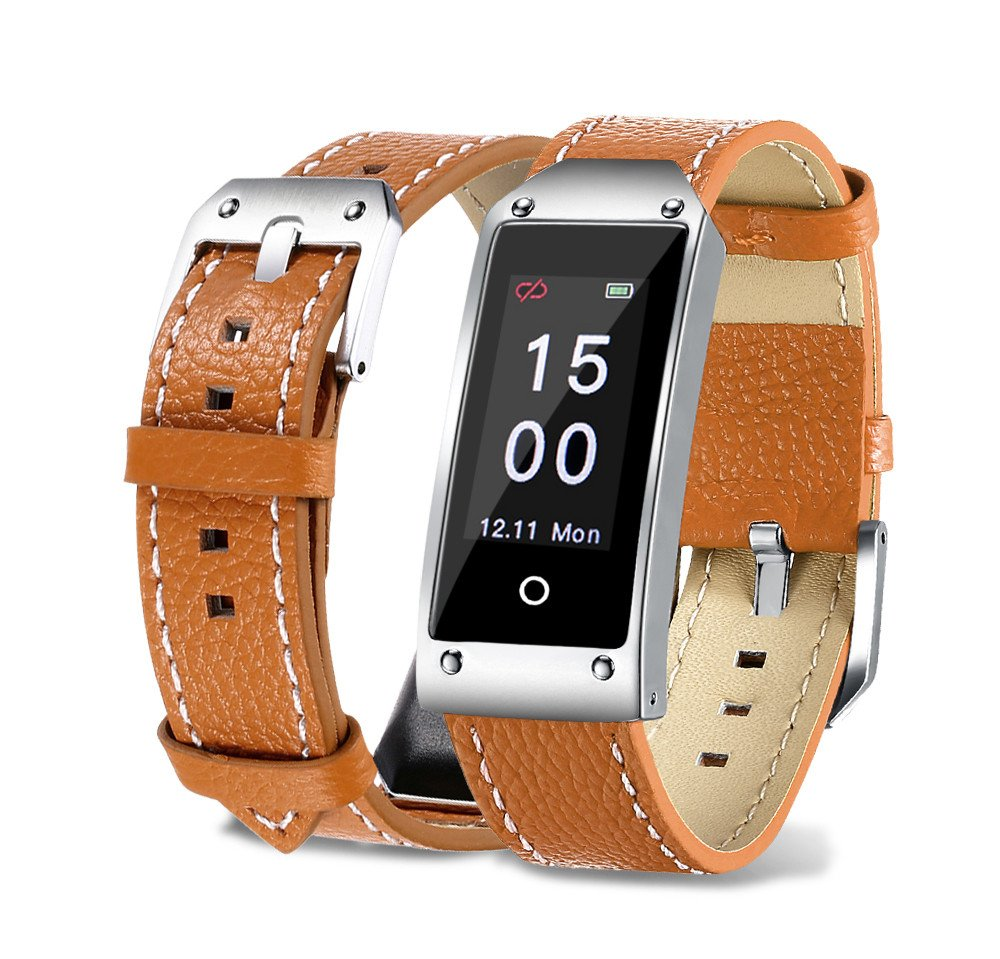 Heart Rate Blood Pressure Smart Bracelet,MeiLiio Activity Bracelet,Multi Sport Modes Pedometer Bluetooth Smart Wrist with Remote Camera,Waterproof Touch Screen Smart Watch for Women,Men,Kids,Brown by MeiLiio