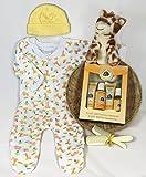 Sunshine Gift Baskets - Giraffe Baby Sleeper Set with a Burt's Bees Getting Started Kit