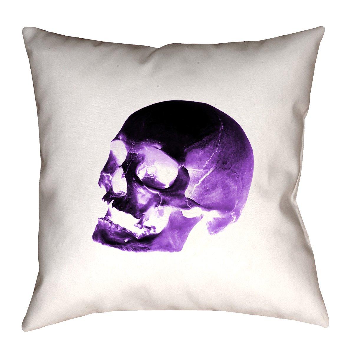 ArtVerse Katelyn Smith 36' x 36' Floor Double Sided Print with Concealed Zipper & Insert Purple & Black Skull Pillow SMI030F3636L