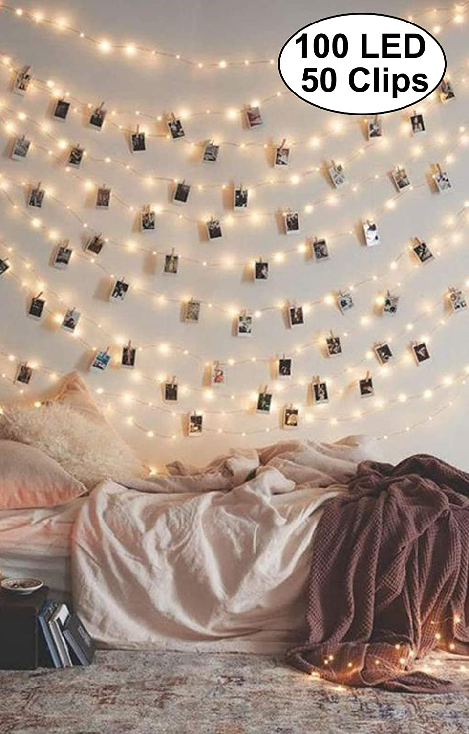 Decute Photo Clip String Lights Holder 100 LED 33FT Starry Fairy Lights with 50 Clear Clips for Hanging Pictures Cards Memos USB Powered with Switch Perfect for Bedroom Wedding Dorm Christmas Decor