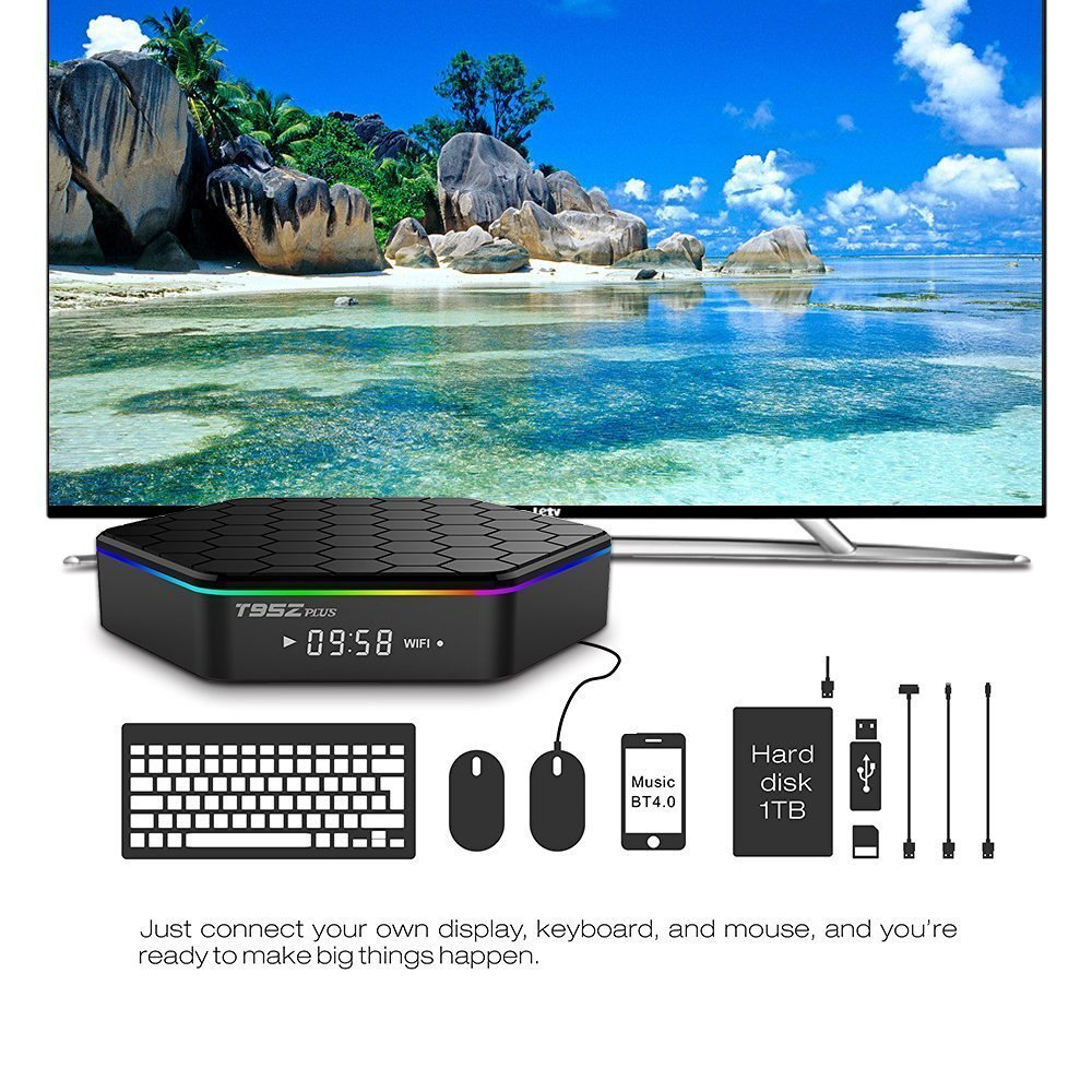 EASYTONE T95Z PLUS Android TV Box,Octa Core Smart TV Box 2GB RAM 16GB ROM Android 7.1 Amlogic S912 Support 2.4G/5G Dual Wifi/1000M LAN/BT 4.0/4K Resolution/3D TV Boxes with Mini Wireless Keyboard by EASYTONE (Image #6)