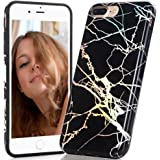 iPhone 7 Plus Case, BAISRKE Laser Style Marble Design Colorful Lines Sparkling Shiny Flexible Glossy Soft Rubber TPU Case for iPhone 7 Plus (2016) & iPhone 8 Plus (2017) - Black