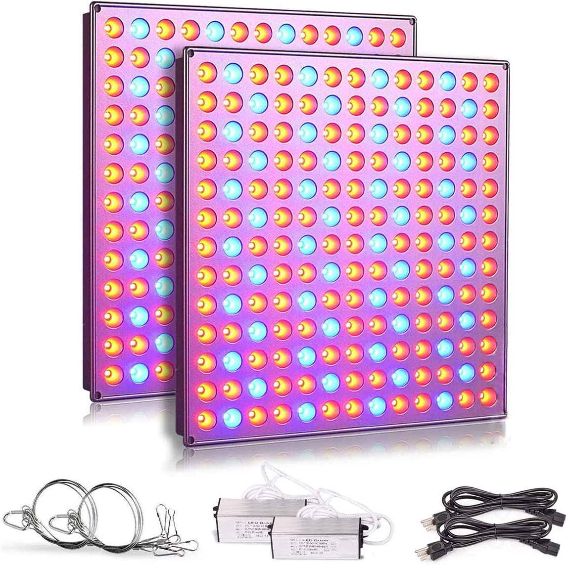Roleadro LED Grow Lights for Indoor Plants, 75w Plant Lights with Red Blue Spectrum Grow Lamp for Hydroponic, Seedling, Succulents, Veg and Flower 2 Packs