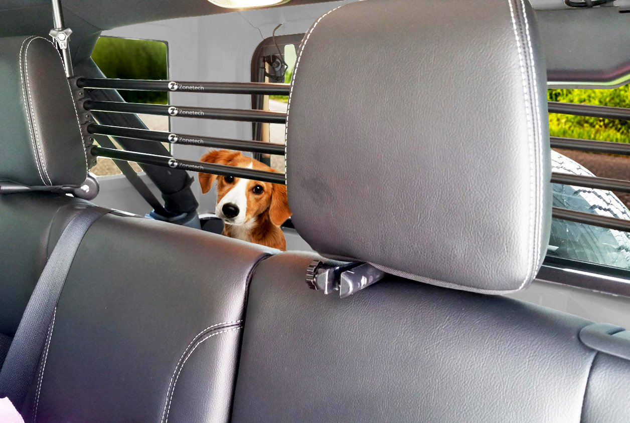 Zone Tech Universal Pet Barrier - Adjustable Mounted Headrest Barrier for Pet Automotive Safety by Zonetech (Image #5)