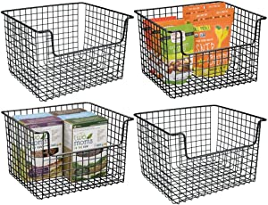 mDesign Metal Kitchen Pantry Food Storage Organizer Basket - Farmhouse Grid Design with Open Front for Cabinets, Cupboards, Shelves - Holds Potatoes, Onions, Fruit - 4 Pack - Black