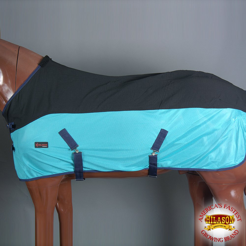 HILASON 84'' UV Bug Mosquito Airflow MESH Horse Cooler Fly Sheet Black Turquoise