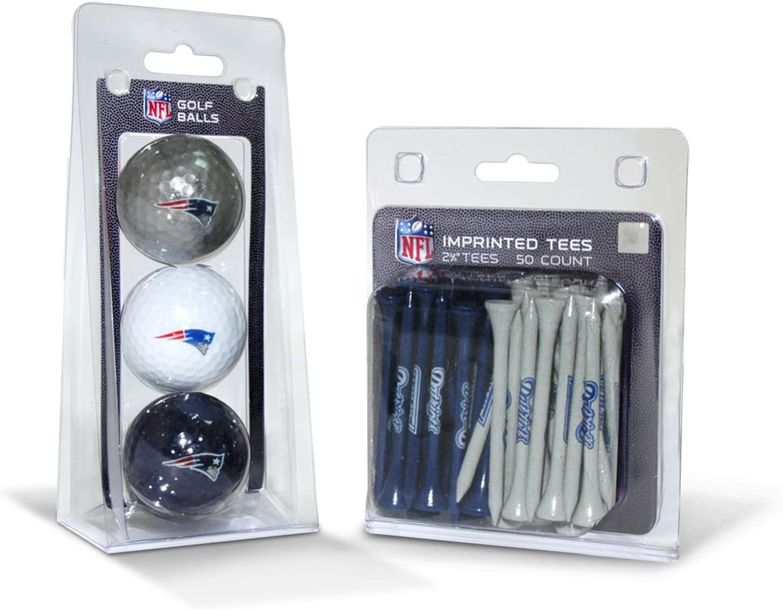 "Team Golf NFL Logo Imprinted Golf Balls (3 Count) & 2-3/4"" Regulation Golf Tees (50 Count), Multi Colored"