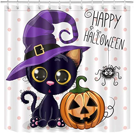 """Details about  /Halloween Pumpkins Spooky Skull Cartoon Waterproof Fabric Shower Curtain Set 72/"""""""