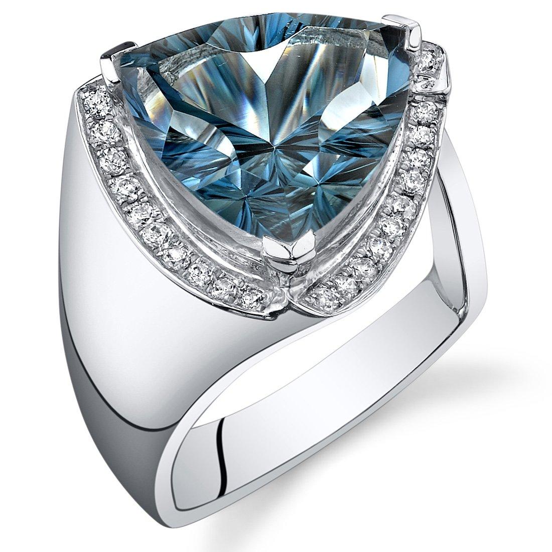 7.00 Carats London Blue Topaz Ring Sterling Silver Concave Trillion Cut Size 8