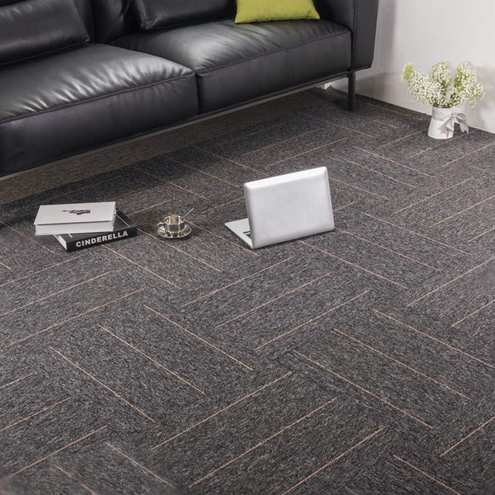 Carpet Tiles Commercial Carpet Tiles Carpet Floor Tiles Carpet Tile 20x20inch for Bedrooms Living Rooms Kids Rooms Office Decor with Anti-Slip Asphalt Bottom Backing Dark Grey Stripe 32Tiles