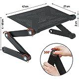 Wonder Worker Newton Ergonomic Folding Laptop Table Desk Bed Tray Cooling Pad - Black