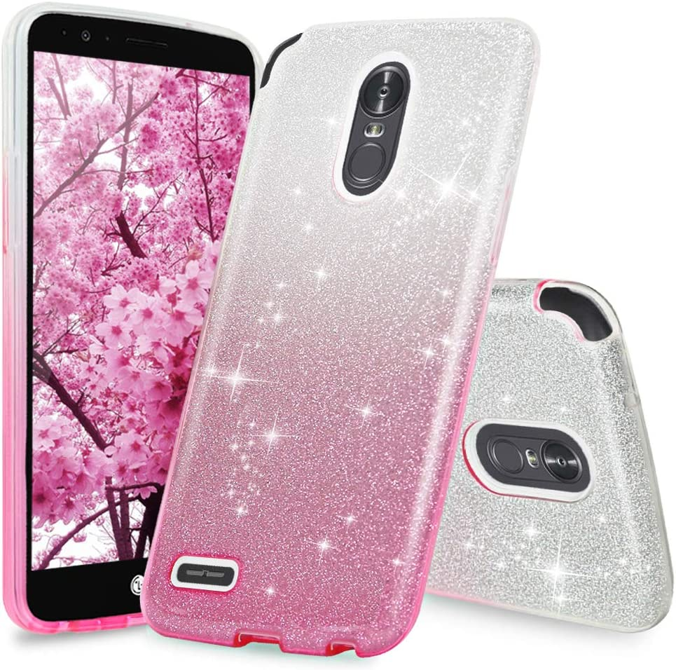 LG Stylo 3 Case, LG Stylo 3 Plus Case, Two Tone Shinny Glitter Hybrid TPU Protection Phone Cover Case for Girls Women (Pink)